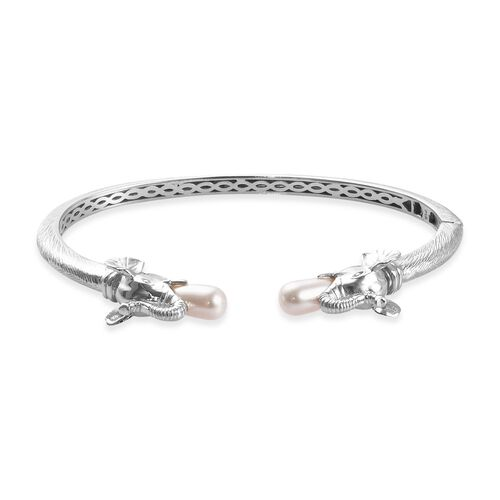 J Francis White Pearl Crystal from Swarovski Elephant Head Cuff Bangle in Platinum Plated 7.5 Inch