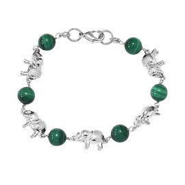 30 Ct Malachite Elephant Bracelet in Platinum Plated 7.5 Inch