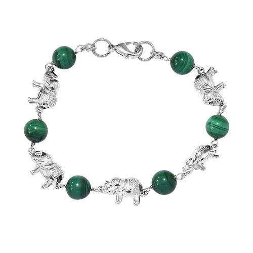 30 Ct Malachite Elephant Bracelet in Platinum Plated 7.5 Inch