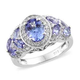 2 Carat Tanzanite and Zircon Halo Ring in Platinum Plated Sterling Silver