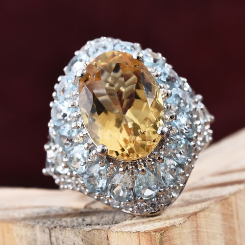 GP Citrine (Ovl 5.250 Ct), Multi Gem Stone Ring in Platinum Overlay Sterling Silver 12.000 Ct, Silver wt 7.15 Gms.