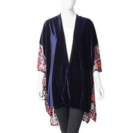 Floral Embroidery Lace Sleeves Nice Velvet Kimono (Size 70x75 Cm) - Navy Colour