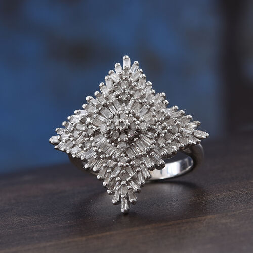 Diamond (Rnd and Bgt) Cluster Ring in Platinum Overlay Sterling Silver 1.00 Ct., Silver wt 5.38 Gms, Number of Diamonds 109