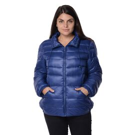 Navy Colour Women Short Puffer Jacket with Two Pockets