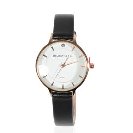 DIAMOND & CO LONDON- Diamond Studded Watch wth Genuine Leather Strap - Rose Gold Tone