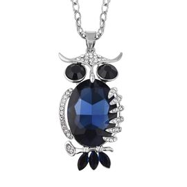 Simulated Blue Sapphire (Ovl), Simulated Multi Gemstone Owl Pendant With Chain (Size 29 with 2 inch