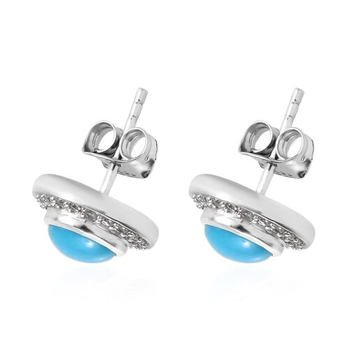 Arizona Sleeping Beauty Turquoise (Rnd), Natural Cambodian Zircon Stud Earrings (with Push Back) in Platinum Overlay Sterling Silver 2.00 Ct.