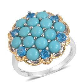 3.25 Ct Sleeping Beauty Turquoise and Neon Apatite Cluster Ring in Gold Plated Silver 5.29 Grams