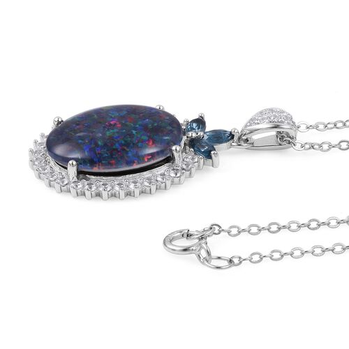 Boulder Opal (Ovl), Natural White Cambodian Zircon and London Blue Topaz Pendant With Chain in Rhodium Overlay Sterling Silver .