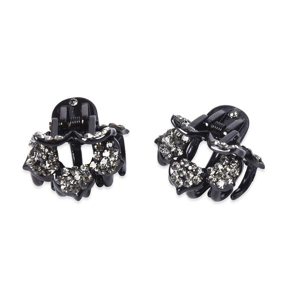 Set of 2 - Crystal Studded Small Hair Claw Clip - Grey