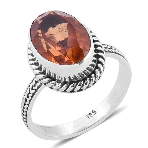 Royal Bali Collection Morganite Quartz (Ovl) Solitaire Ring in Sterling Silver 6.475 Ct. Silver wt 5.01 Gms.