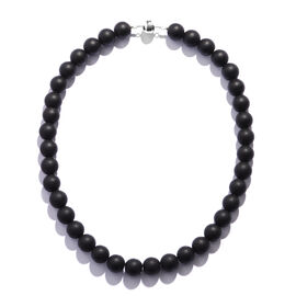 Black Onyx Beads Necklace (Size 18) in Rhodium Overlay Sterling Silver 430.000 Ct.