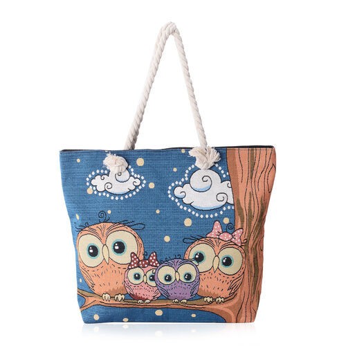 Super Chic Blue Owls Family Pattern Light Weight Large Tote Bag (Size 45x34.5x10x37 Cm)