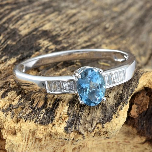 14K White Gold AA Santa Maria Aquamarine (Ovl), Diamond Ring 0.750 Ct.
