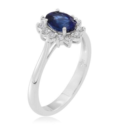 ILIANA 18K White Gold Ceylon Sapphire (Ovl 1.00 Ct), Diamond Ring 1.250 Ct.