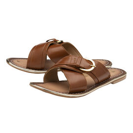 RAVEL Tan Nola Leather Flat Sandals