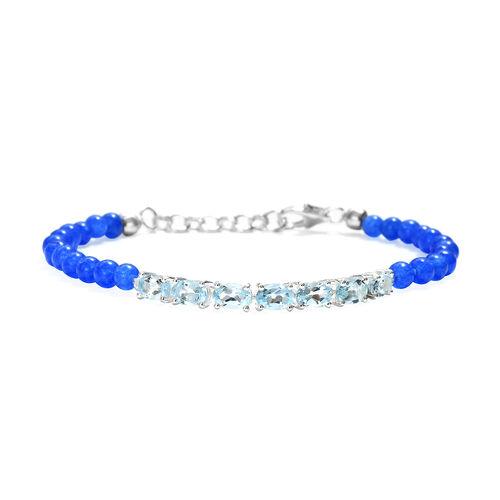 Sky Blue Topaz (Ovl), Blue Agate Bracelet (Size 7.5) in Sterling Silver 18.750 Ct.
