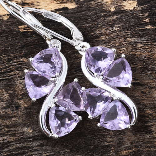 Rose De France Amethyst (Trl) Lever Back Earrings in Sterling Silver 5.750 Ct.