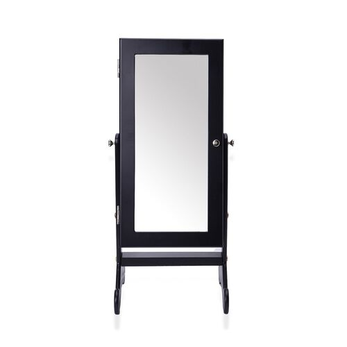 Black Colour MDF Standing Jewellery Cabinet with Mirror (Size 52X22.5X6 Cm)