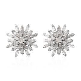 Diamond (Rnd and Bgt) Snow Flake Earrings (with Push Black) in Platinum Overlay Sterling Silver 0.33