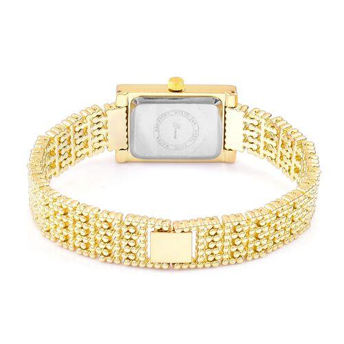 Designer Inspired- Diamond Studded GENOA Japanese Movement Bracelet Watch in Yellow Gold Tone