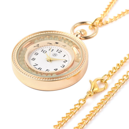 STRADA Japanese Movement Pocket Watch with Chain (Size 30) and Moving Green Aventurine Beads Around the Dial in Yellow Gold Tone