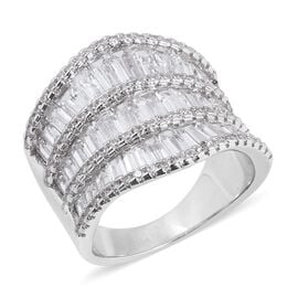 Simulated Diamond (Bgt and Rnd) Ring (Size N) in Silver Plated