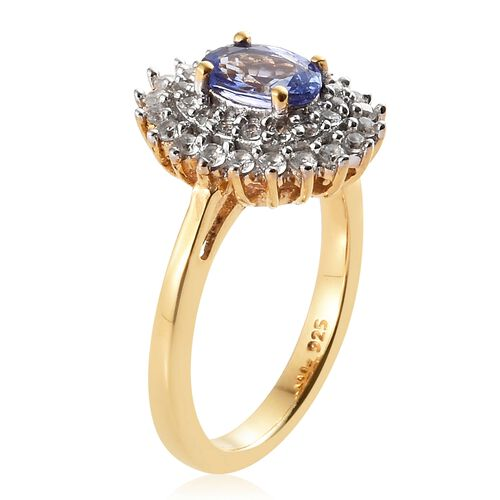 Tanzanite (Ovl), Natural Cambodian Zircon Ring in 14K Gold Overlay Sterling Silver 1.250 Ct.