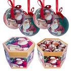 Set of 14 - Green and Multi Colour Santa Pattern Christmas Decoration Baubles in a Box (Size 21.5X15