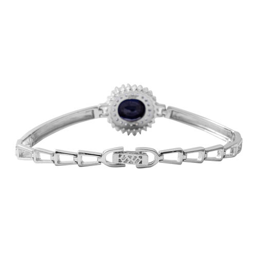 One Time Close Out Deal - Blue Sapphire (Very Rare Size Ovl 12x10 mm), Cubic Zircon  Cuff Bracelet (Size 7.5) in Rhodium Overlay Sterling Silver 6.770  Ct, Silver wt 13.60 Gms