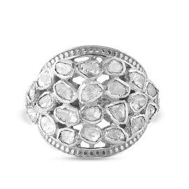 GP Polki Diamond and Kanchanaburi Blue Sapphire Ring in Platinum Overlay Sterling Silver 1.02 Ct, Si