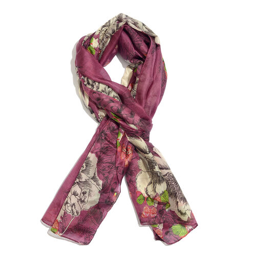 Designer Inspired - 100% Mulberry Silk Purple, Green and Multi Colour Handscreen Floral and Butterfl