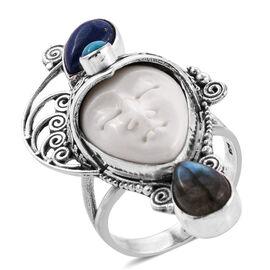 Princess Bali Collection Ox Bone (Ovl 20x15 mm), Lapis Lazuli, Labradorite, Arizona Sleeping Beauty Turquoise Ring in Sterling Silver 5.341 Ct, Silver wt 12.76 Gms.