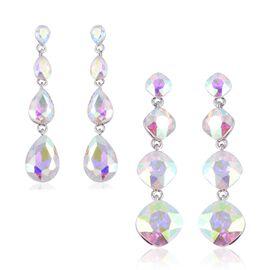 Set of 2 - Magic Colour Simulated Diamond (Cush) Dangle Earrings (with Push Back) in Silver Tone