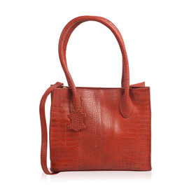 Limited Collection Croc Embossed Genuine Leather Ture Red Handbag with Removable Shoulder Strap (Siz