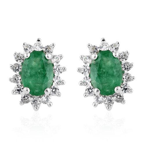 9K White Gold AA Kagem Zambian Emerald (Ovl), Natural Cambodian Zircon Halo Stud Earrings (with Push Back)