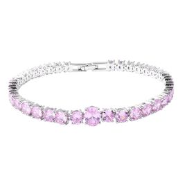 Simulated Pink Sapphire Tennis Design Bracelet in Silver Tone 7 Inch
