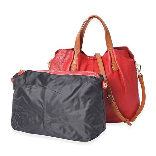 100% Genuine Leather Litchi Pattern Tote Bag with Detachable Shoulder Strap and Magnetic Closure (31