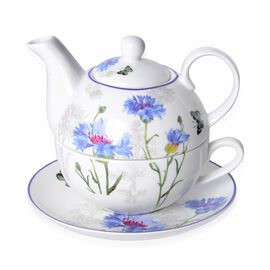 Set of 3 - Blue Cornflower with Butterfly Hydrangea with Bird Pattern Porcelain Tea Set (1 Pot, 1 Mug and 1 Saucer)