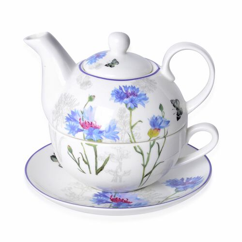 3 Piece Set - Blue Cornflower with Butterfly Hydrangea with Bird Pattern Porcelain Tea Set (1 Pot, 1