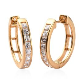 J Francis Made with SWAROVSKI ZIRCONIA Hoop Earrings in Gold Plated Sterling Silver