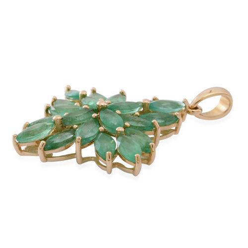 9K Yellow Gold Brazilian Emerald (Mrq) Floral Pendant 4.500 Ct.