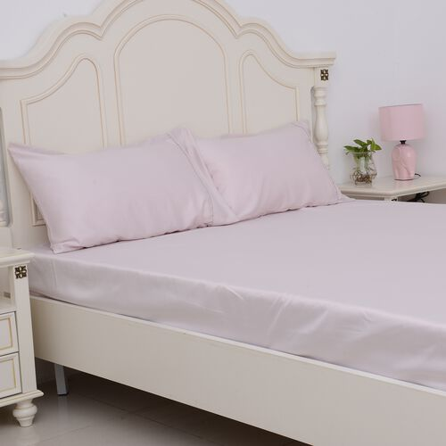 King Size Set of 4- Dusky Pink Colour Matt Satin Flat Sheet (Size 275x265 Cm), Fitted Sheet (Size 200x150x30 Cm) and 2 Pillow Cases (75x50 Cm)