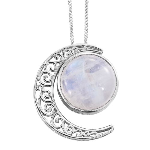 Sri Lankan Rainbow Moonstone (Rnd) Filigree Crescent Moon Pendant With Chain in Platinum Overlay Sterling Silver 13.250 Ct. Silver wt. 5.98 Gms.