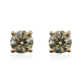 14K Yellow Gold Natural Yellow Diamond (Rnd) Stud Earrings (with Push Back) 0.50 Ct.