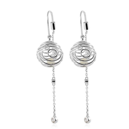 Isabella Liu Sea Rhyme White Mother of Pearl and Zircon Designer Earrings in Rhodium Plated Silver