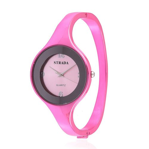 STRADA Japanese Movement Rose Dial Water Resistant Pink Colour Bangle Watch in Silver Tone with Stainless Steel Back