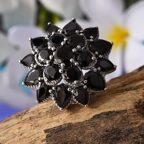 Elite Shungite (Pear and Rnd)) Floral Ring in Platinum Overlay Sterling Silver 6.50 Ct, Silver wt 10.25 Gms