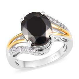 Elite Shungite (Ovl 11x9 mm), Natural Cambodian Zircon Ring in Platinum and Yellow Gold Overlay Ster