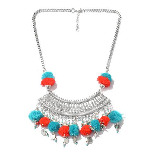 Trendy Boho Style Pom-Pom Necklace in Silver Plated